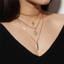 ФОТО religious style multi chain necklace minimalist gold silver color vintage cross virgin mary pendant necklace for women