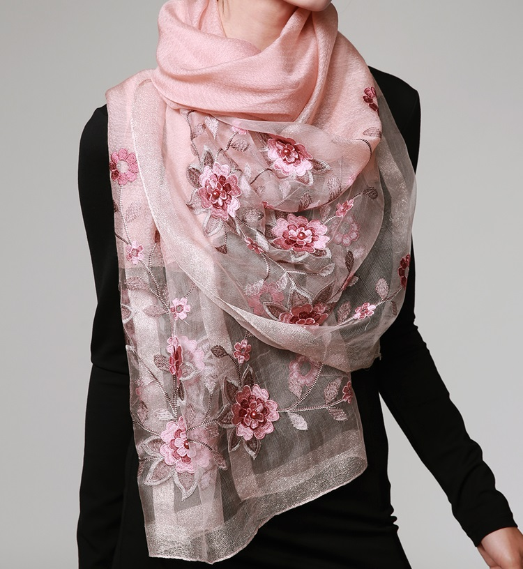 Silk embroidery flower scarves dual use shawl
