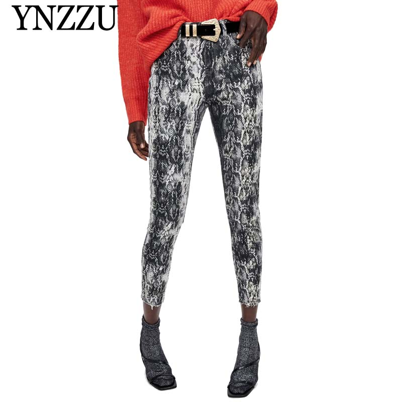 Impartial Ynzzu Chic Snake Print Skinny Jeans Women 2019 Spring Streetwear High Waist Female Pants Punk Pencil Pants Trousers Yb281 Year-End Bargain Sale Women's Clothing Jeans