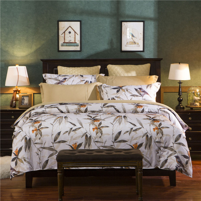 American Style Bamboo Flower Bird Cotton 4Pcs Twin/Full/Queen/King Size  Bedding