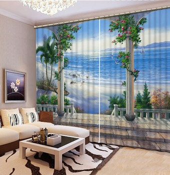 D Curtain Printing Blockout Polyester Chinese scenic curtains