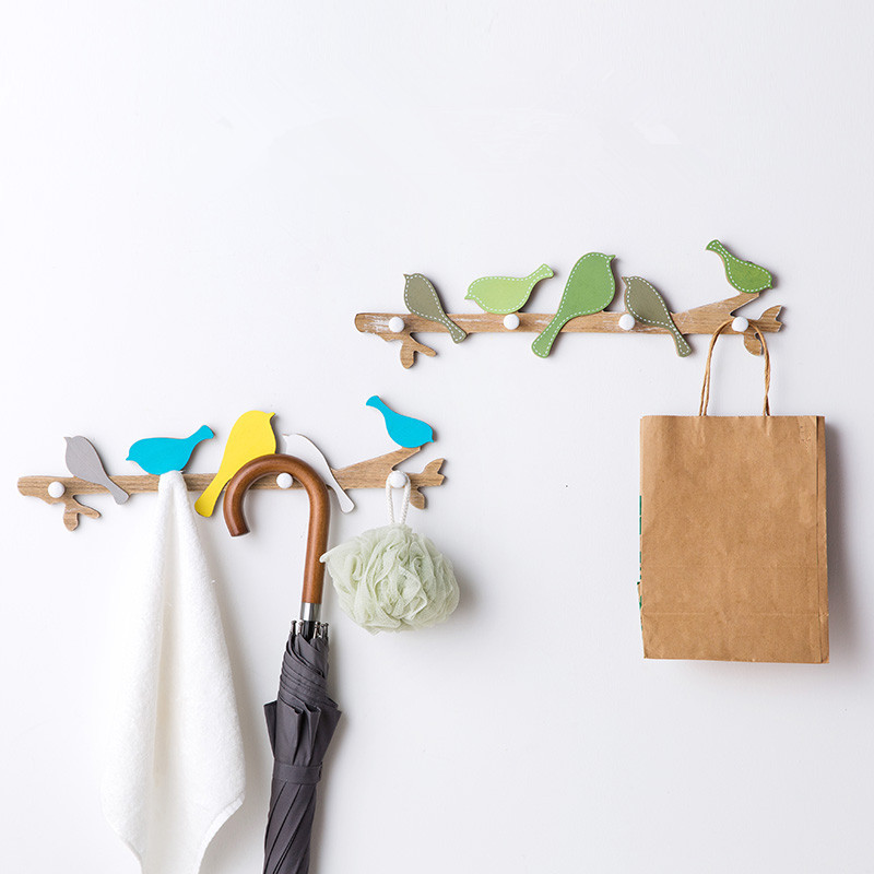 Home Storage & Organization Home & Garden Dedicated Creative European Style 3d Hooks Multi-function Wooden Bird Clothes Hat Living Room Bedroom Wall Hanging Decorative Coat Racks Attractive And Durable