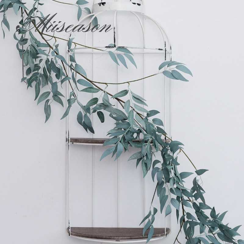 Artificial green willow Leaf Garland Plants Vine Fake Foliage Flowers Home Decor Plastic Artificial Flower Rattan string 170cm
