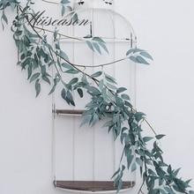 Artificial green willow Leaf Garland Plants Vine Fake Foliage Flowers Home Decor Plastic Artificial Flower Rattan string 170cm