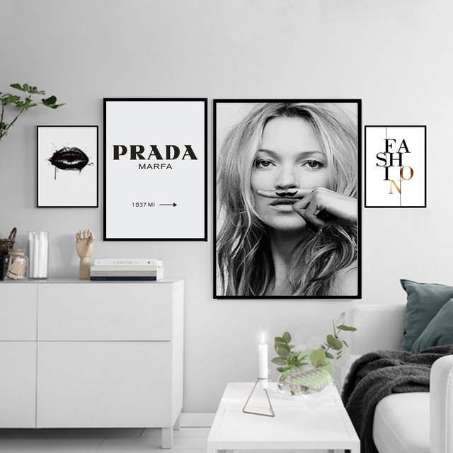 Nordic Fashion Canvas Painting Minimalist Black White A4 Posters And
