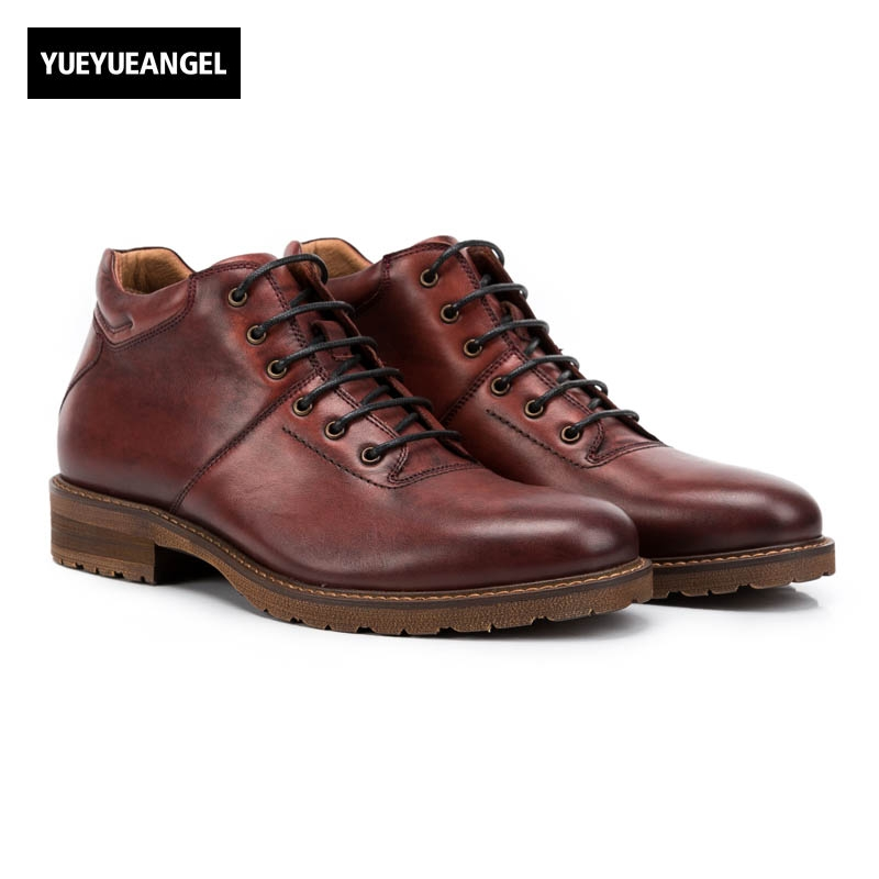 Retro Men Lace Up Genuine Leather Cow Winter New Fashion England Style Low Heel Round Toe Ankle Boots Plus Size Multi Color 2017 england style men genuine leather cow new fashion lace up breathable casual shoes male vintage match color black coffee