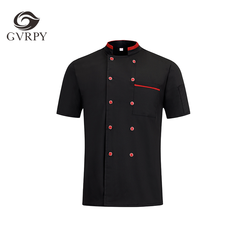 Summer Men And Women Breathable Double-Breasted Pocket Short Sleeve Chef Jacket Food Service Hotel Restaurant Chef Workwear