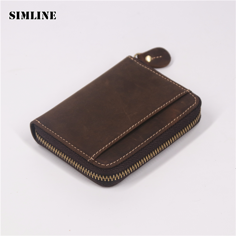 SIMLINE Genuine Leather Men Wallet Men's Vintage Crazy Horse Leather Small Zipper Wallets Coin Purse Pocket Card Holder Carteira gubintu genuine crazy horse leather men wallet short coin purse small vintage wallets brand high quality designer carteira