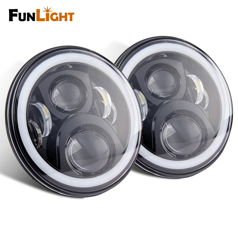 1pair 7Inch LED Headlight With White Halo Ring Angel Eyes+Amber Turning Signal Light For Jeep Wrangler JK TJ CJ Led Headlamp pair 7 inch round high low led headlight with amber signal halo ring angle eyes with drl halo for 97 15 jeep wrangler jk tj