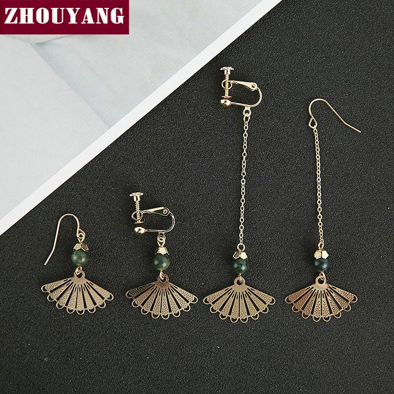 Drop Earrings For Women Retro Chinese Style Fan shaped Gold Color Fashion Jewelry Earing KA059 KA060 KA061 KA062