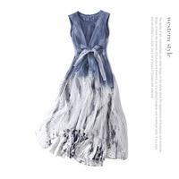 Silk sleeveless loose plus size party long dress 2018 new runway women summer dress high quality office lady a line dress