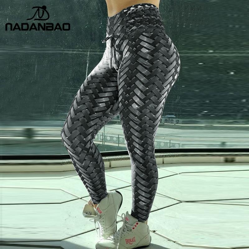 NADANBAO Iron Armor Weave Printed Leggings Women High Waist Plus Size Leggins Push Up 3D Workout Elastic Bowknot Fitness Pants