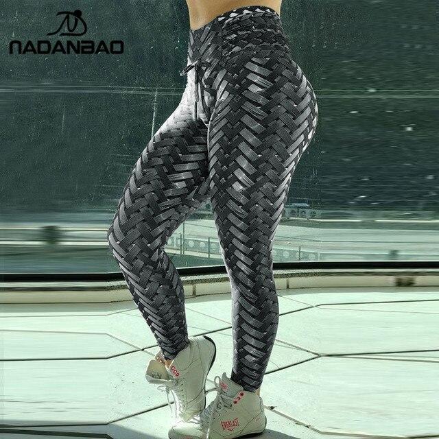 caa5ec1011fe8 NADANBAO Iron Armor Weave Printed Leggings Women High Waist Plus Size  Leggins Push Up 3D Workout Elastic Bowknot Fitness Pants