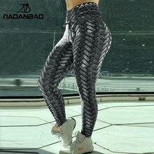 NADANBAO เกราะเหล็กสานพิมพ์กางเกงขายาวผู้หญิงเอวสูงกางเกงขายาว Push Up 3D ออกกำลังกายยืดหยุ่น Bowknot กางเกงออกกำลังกาย