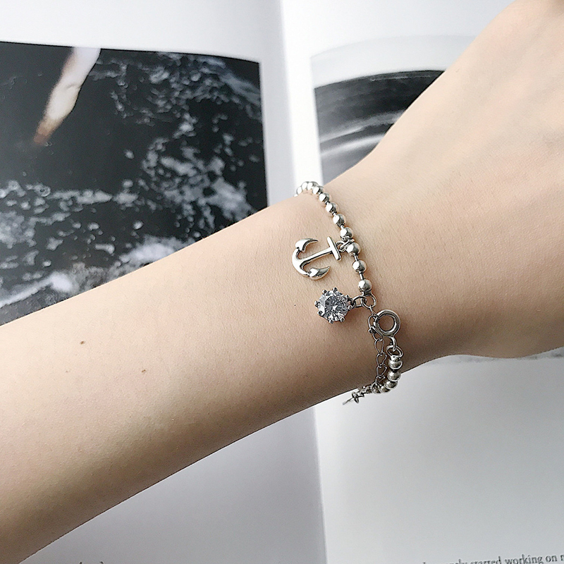 charms Bracelets for women Fine Jewelry Sterling Silver 925 Vintage Retro Round Zircon Mini Same Kind Anchor Korean Style Girls