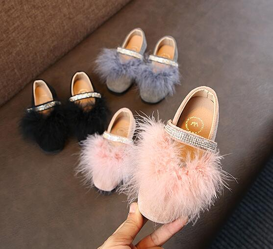 New Arrival Children Princess Shoes Girls With Pink Fur Girls Leather Wedding Party Kids Dress Shoes 13.5-22 Cm Free Shipping