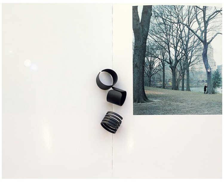 Fashion Zwarte Scrub Oppervlak Lente Brede Ring Verstelbare Matte Ringen voor Vrouwen 3 stks/set