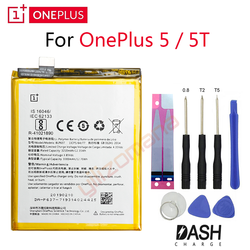 ONEPLUS Original Phone Battery For Oneplus 5 / 5T A5001 A5010 BLP571 3210/3300mah High Quality Replacement Batteries Free Tools