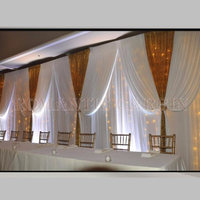 White Ice Silk and Gold Sequin Wedding Backdrop Drapes for Wedding Decoration 20ft *10ft color can be Customized