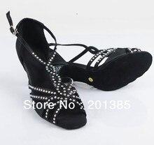 New Ladies Black Satin Crystal Ballroom Latin Samba Salsa Ceroc Tango Jive Line Dance Shoes Size 4,5,6,7,8,9,10