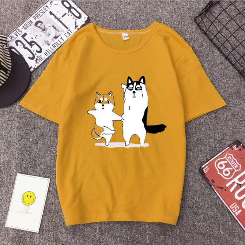Cute Dancing Dogs Print   T     shirt   Women Spring Summer Short Sleeve O Neck Cotton Spandex Women Tops Tees Casual Female   T  -  shirt