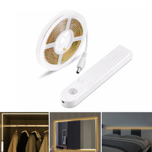PIR Motion Sensor LED Strip Light Smart Turn ON OFF Flexible Adhesive Lamp Tape for Closet Stairs Kitchen Battery Cabinet Stripe