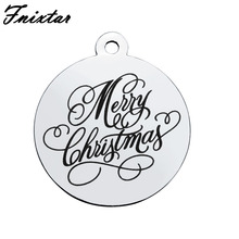 Fnixtar Polished Stainless Steel Merry Christmas Bracelet Charms For Jewelry Making Round Alphabet Metal Mini Charm 10pcs/lot