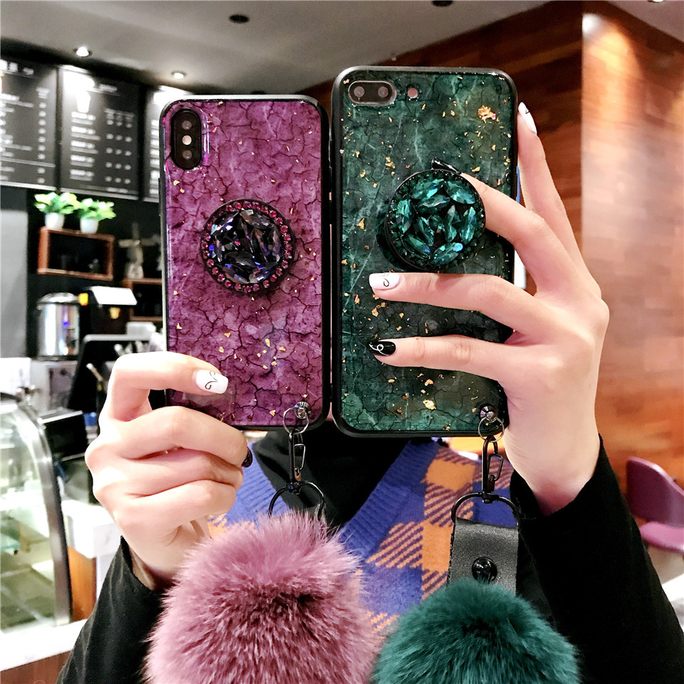 Jewelled phone back cover fundas with holder and strap For Apple iPhone X XR 8 plus 6 7 XS MAX cases