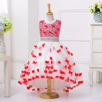 Princess Flower Girl Dress For Wedding Party High Quality Bridesmaid Kids Waist Sleeveless Trailing Lace Tulle
