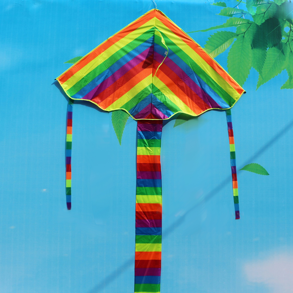 Coloeful Rainbow Kite Flying Triangle Nylon Outdoor Fun Sports Toys Kite Long Tail Line Flying Comets
