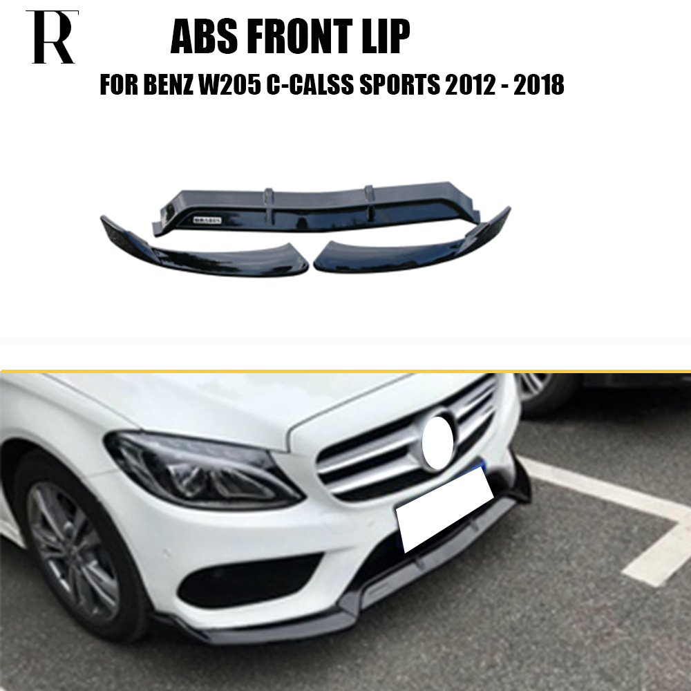 ABS Black Front Bumper Chin Lip Protecter For Benz W205 C205 S205 C180 C200 C300 C43 With Amg Package Sedan & Coupe 2015 - 2018