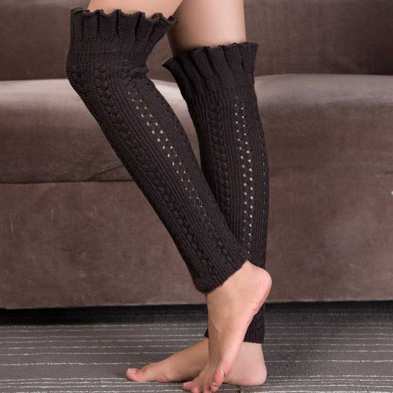 Femmes Jambe Knit Warmers Manchettes Toppers Crochet Genou Respirant Hiver Chaud Chaussettes