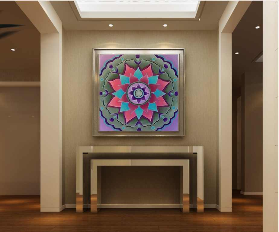 New Mandala Totem Lotus Canvas Painting Spray Decorative Paintings for Living Room Wall Art Pictures No Framed