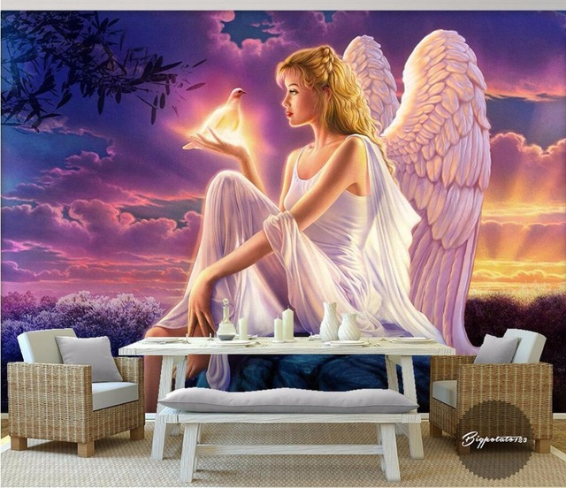 Custom Mural Photo Wall Paper Picture Sun White Wings Of An Angel Room Decor Painting Murals Wallpaper For 3 D