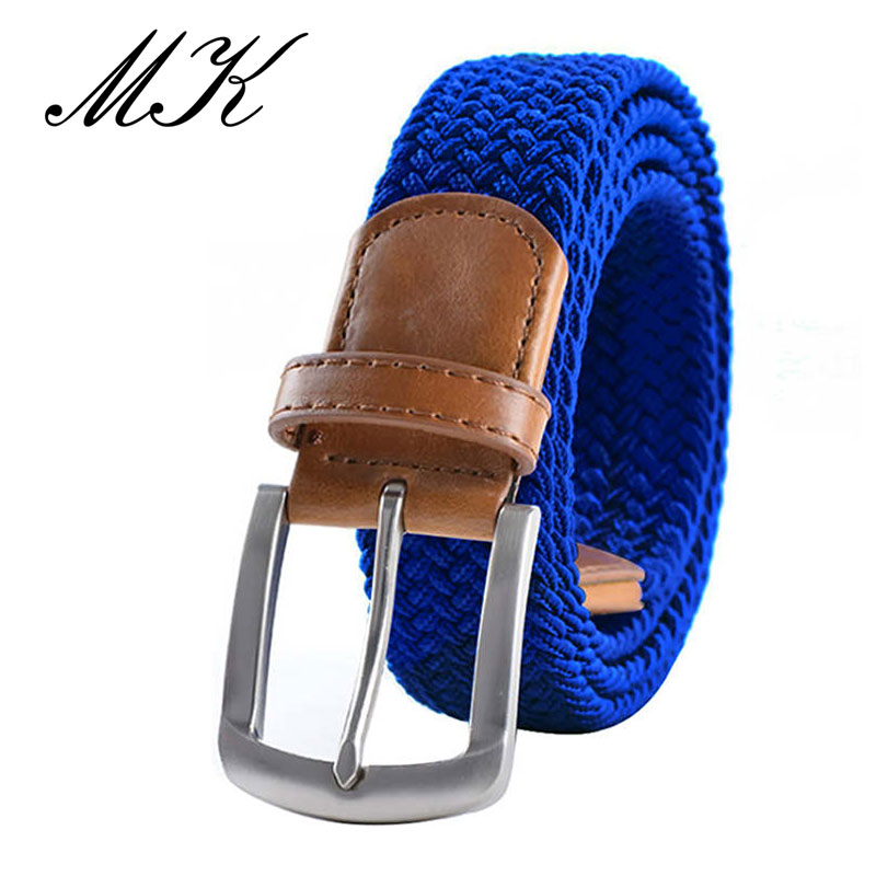 MaiKun мужские ремни с металлической пряжкой булавки эластичный мужской ремень армейский тактический ремень для мужчин - Цвет: Blue