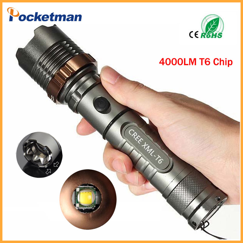 Self Defense LED flashlights Cree XM-L T6 4000LM Rechargeable Torch Lamps powerful Lantern Tactical Emergency Defensive zk65 z50 cree l2 flashlight torch lamp self defense led flash light powerful tactical emergency defensive torch 1battery 1charger