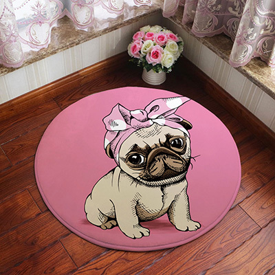 Pink Puppy Law Round Carpet Bedroom Bedside Cloakroom Rug Computer Swivel Chair Cradle Mat in Carpet from Home Garden
