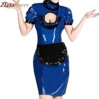 בגדי גומי לטקס שמלה סקסית כחול כהה שני חלקים עם סינר LD250