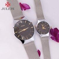 Ультра тонкие мужские часы женские часы Julius Япония кварцевые пара часов тонкой бизнес классический нержавеющая сталь Подарок для влюбленн...
