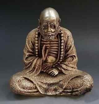 Китайский буддийский серебряный старый человек монах Arhat Damo Dharma статуя Будды коллекция