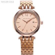Taylor cole de la marca de lujo mujeres vestido reloj relogio feminino rosa Caja De Cristal Completo Correa de Acero de oro Reloj Pulsera de la Señora/TC017