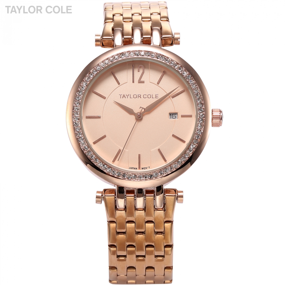 Taylor Cole Relogio Feminino Rose Gold Date Display Full Steel Strap Women Zegarek Jewelry Lady Bracelet Quartz Watch Gift/TC017 taylor cole relogio tc013
