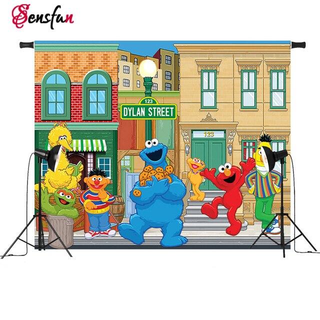 Vinyl Children Party Photography Backdrops Cartoon Sesame