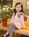 Бесплатная доставка весна осень девушки одежду хлопка спортивная одежда с длинными + леггинсы одежда комплект дети мода одежда
