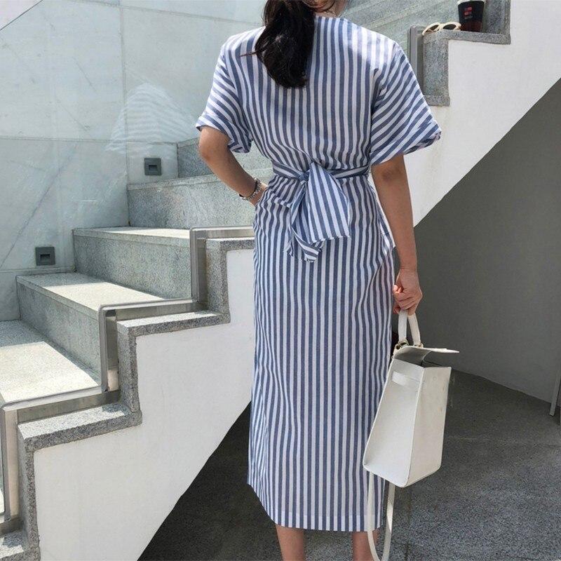 Женское платье с коротким рукавом VGH, Полосатое прямое платье с круглым вырезом и бантиком, летняя уличная одежда, 2019