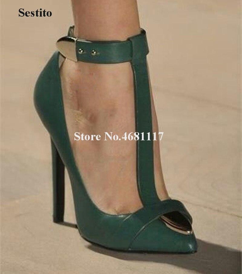 Haut à la mode femmes bout pointu t-strap talon aiguille pompes marron vert métal boucle cheville sangle talons hauts chaussures habillées