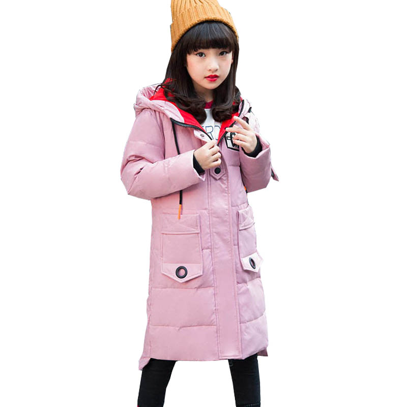 Girls Down Jacket Long Winter Coat Girls Zipper Thicken Children Outerwear Winter Jackets Coats 6 8 10 12 14 Kids Overcoat fashion girls winter coat long down jacket for girl long parkas 6 7 8 9 10 12 13 14 children zipper outerwear winter jackets