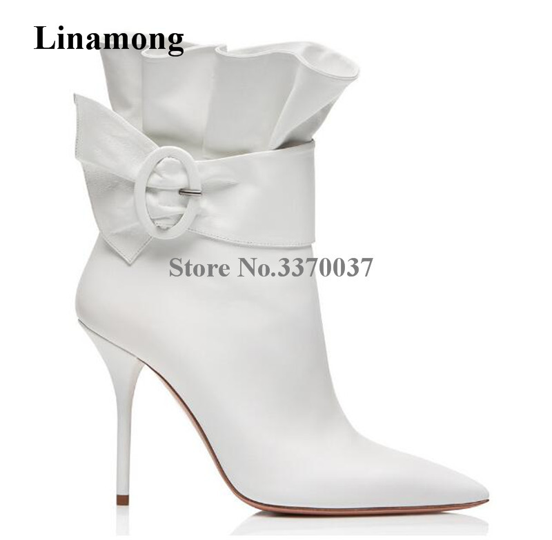 Brand Design Women Fashion Pointed Toe Suede Leather Ruffle Thin Heel Short Boots Red White Black Buckle High Heel Ankle Boots women suede pointed toe high heel ankle boots spring and autumn super high thin heel short boots black red rose red short boots