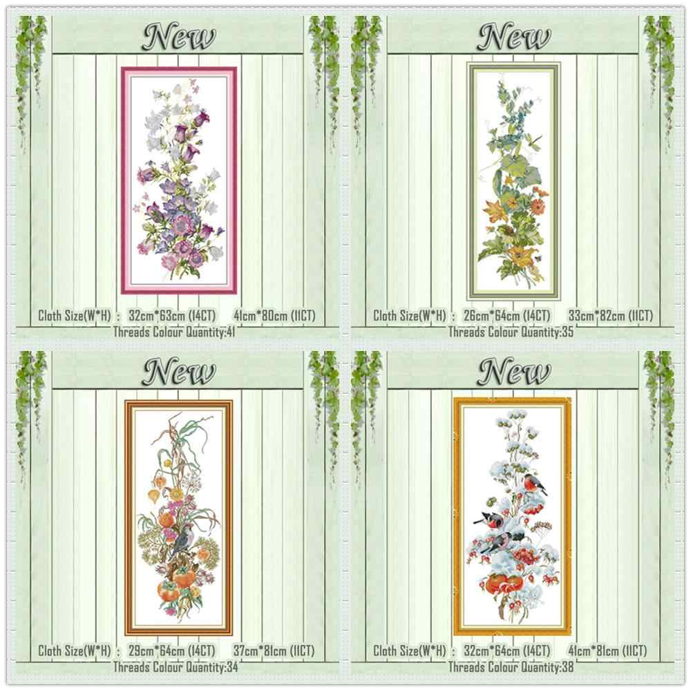 Spring summer season flower decor painting counted print on the canvas DMC 11CT 14CT kit Cross Stitch Embroidery needlework Sets