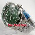 Мужские часы Bliger 175  с зеленым циферблатом  светящимся стеклом с сапфиром  керамическим ободком  окошком даты и GMT